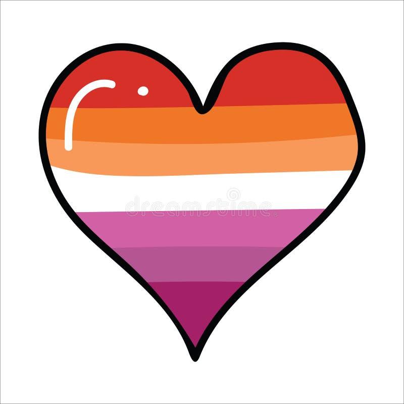 Gullig lesbisk uppsättning för motiv för illustration för tecknad film för stolthetflaggahjärta Utdragen isolerad LGBTQ romantisk royaltyfri illustrationer