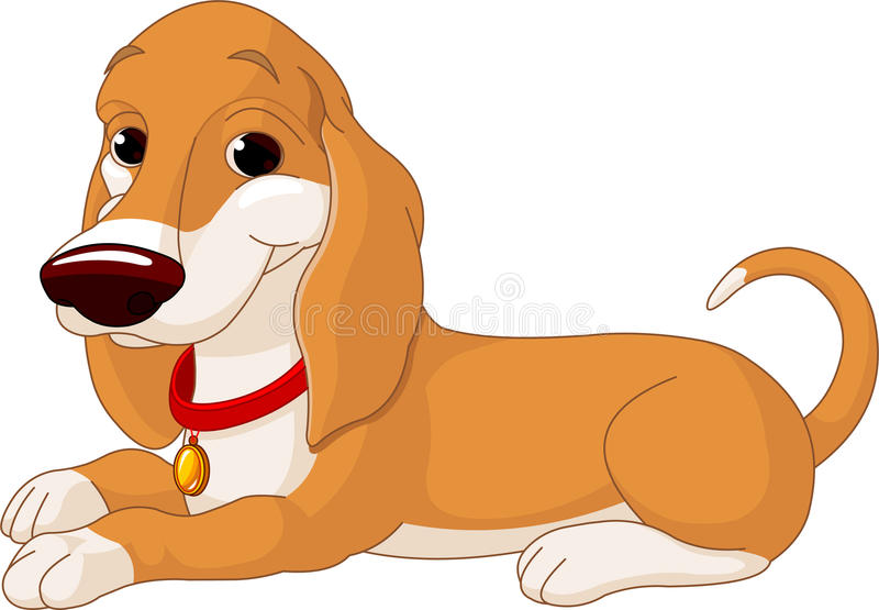 Gullig liggande hund stock illustrationer