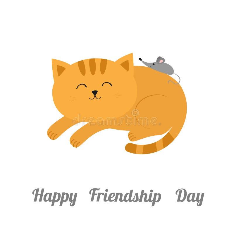 Gullig liggande sova orange katt med mustaschmorrhåret liten mus Djura vänner Roliga par för tecknad filmtecken vektor illustrationer