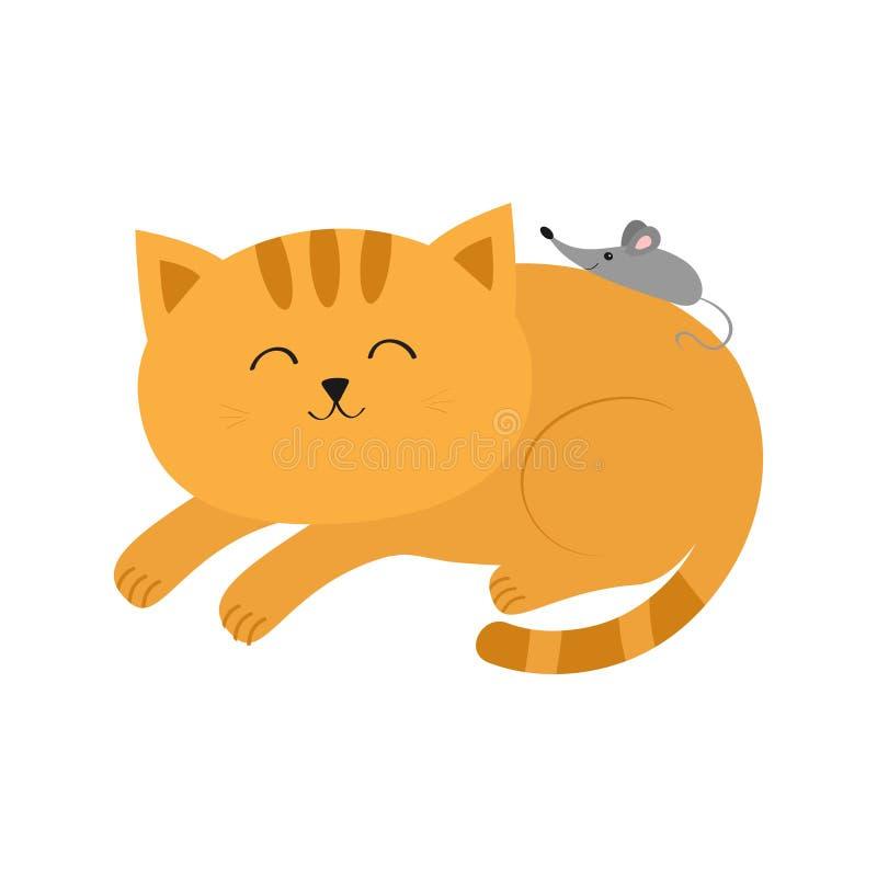 Gullig liggande sova orange katt med mustaschmorrhåret liten mus Djura vänner Roliga par för tecknad filmtecken Vit backgro royaltyfri illustrationer
