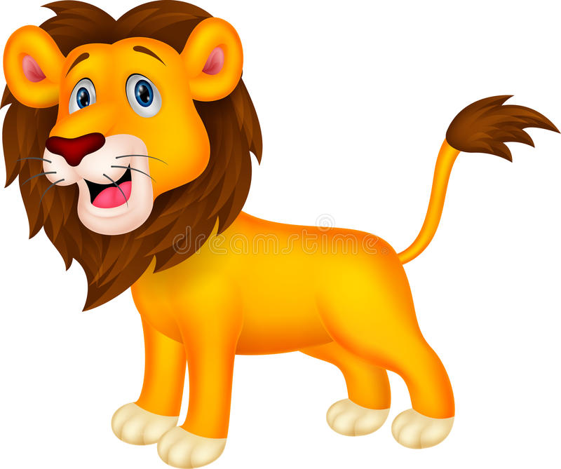 gullig lion för tecknad film stock illustrationer