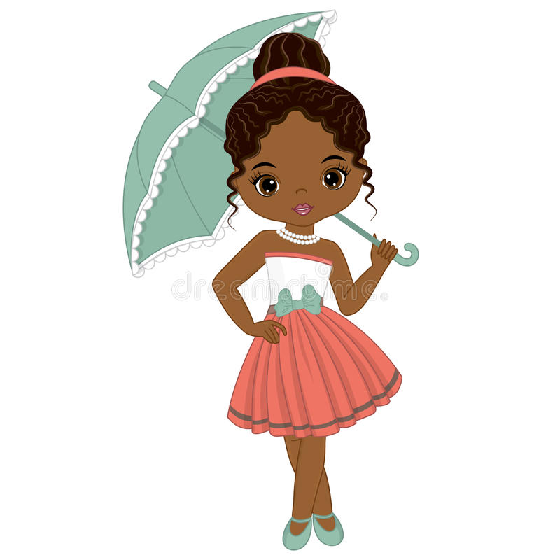 Gullig liten afrikansk amerikanflicka för vektor i Retro stil royaltyfri illustrationer
