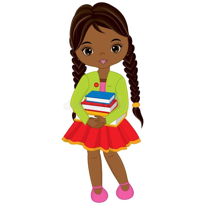 Gullig liten afrikansk amerikanflicka för vektor med böcker royaltyfri illustrationer