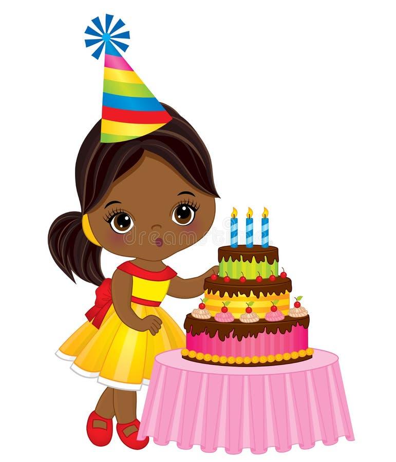 Gullig liten afrikansk amerikanflicka för vektor som ut blåser stearinljus på födelsedagkakan royaltyfri illustrationer