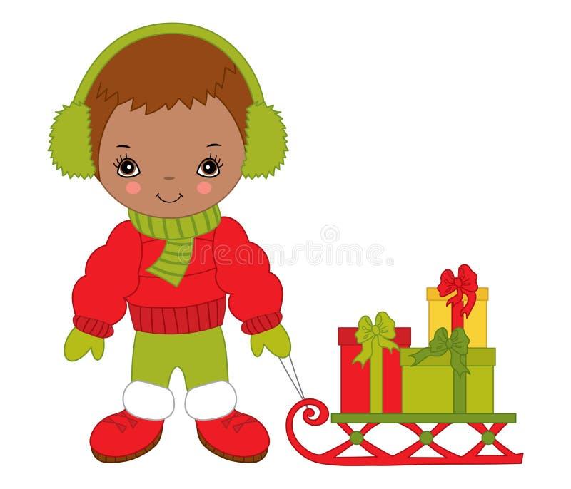 Gullig liten afrikansk amerikanpojke för vektor med pulka- och julgåvaaskar stock illustrationer