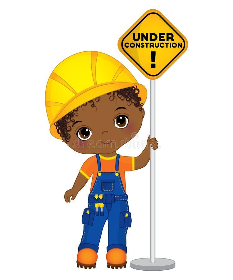 Gullig liten afrikansk amerikanpojke för vektor som rymmer tecknet - under konstruktion stock illustrationer