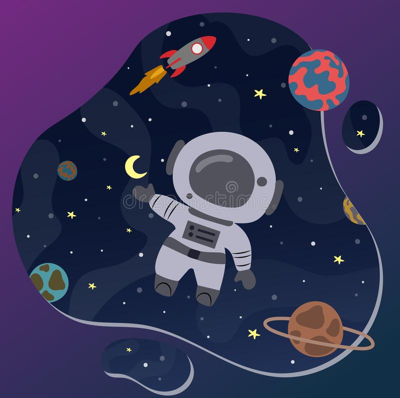 Gullig liten astronaut i utrymme Hand tecknad vektorillustration fotografering för bildbyråer