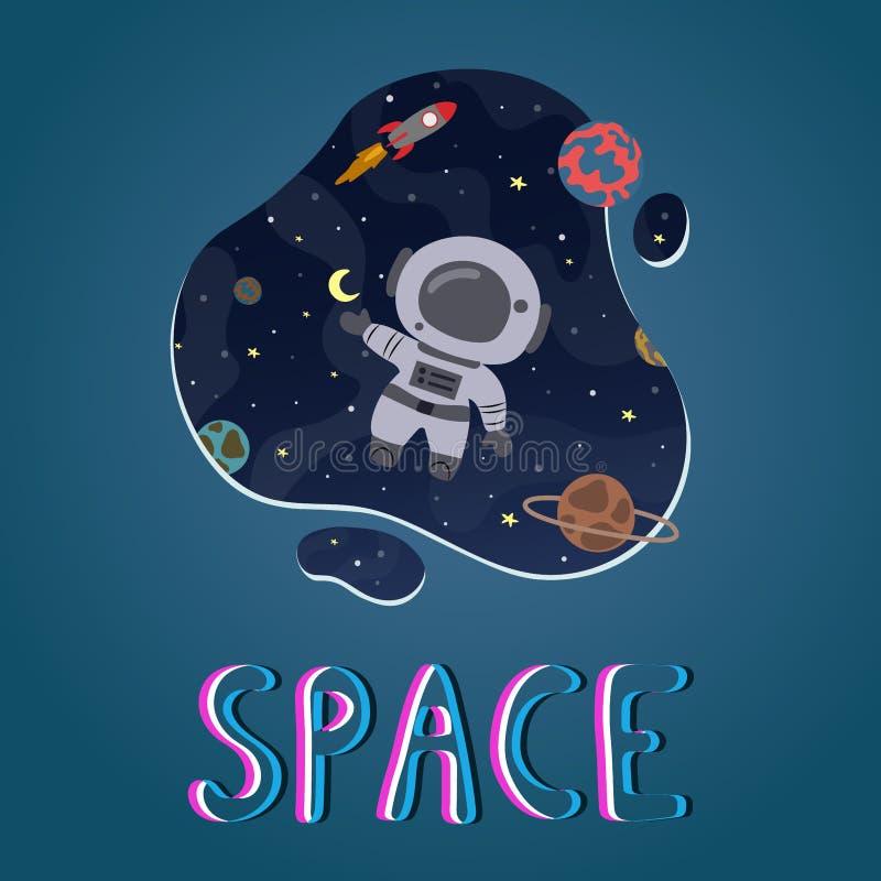 Gullig liten astronaut i utrymme Hand tecknad vektorillustration royaltyfria foton