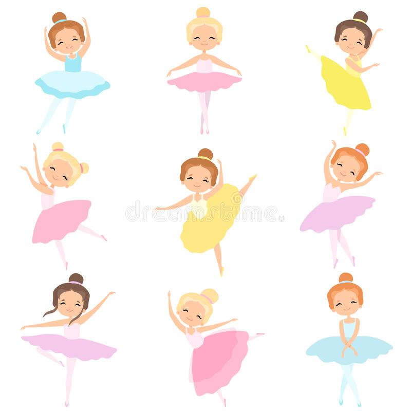 Gullig liten ballerinadansuppsättning, älskvärda flickabalettdansörtecken i illustration för ballerinakjolklänningvektor royaltyfri illustrationer