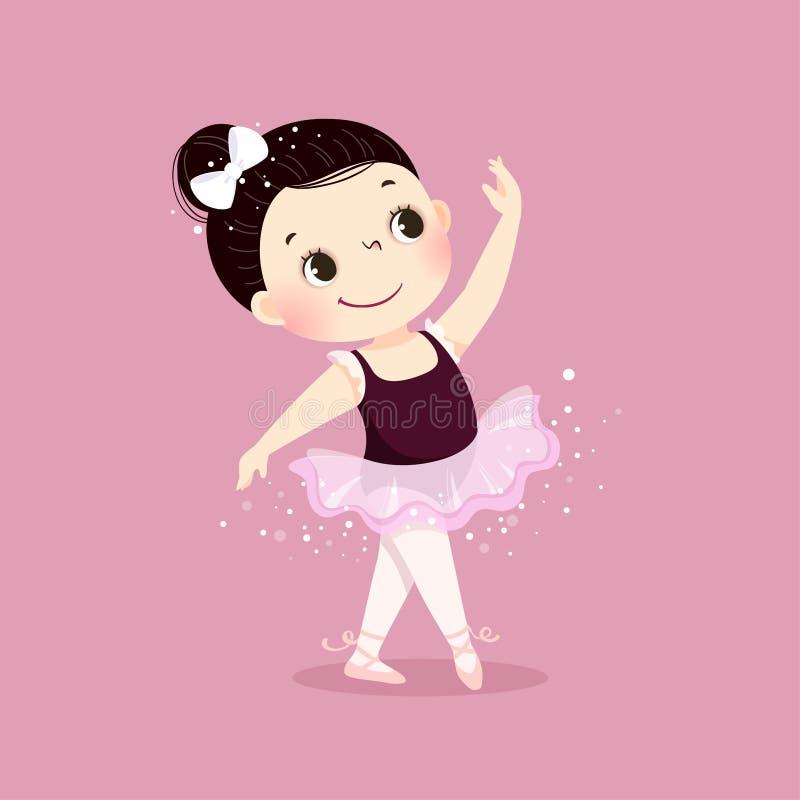 Gullig liten ballerinaflickadans på rosa bakgrund Unge i balettgrupp royaltyfri illustrationer