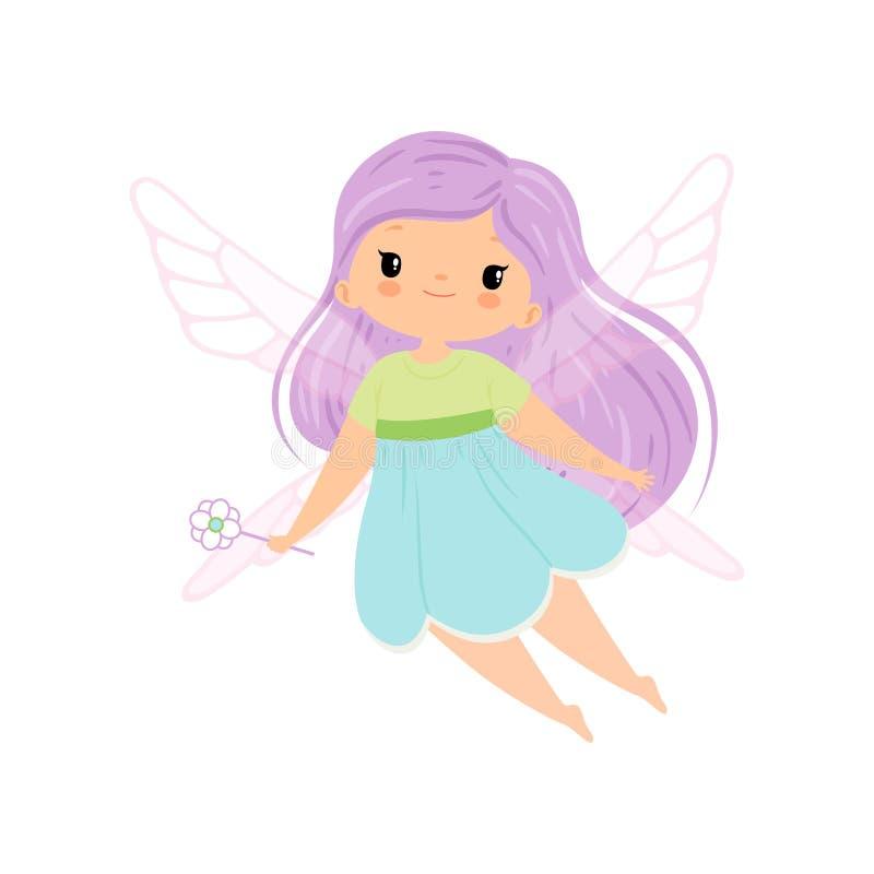Gullig liten bevingad fe med långt lila hår, härligt flygaflickatecken i felik dräkt med trollspövektorn vektor illustrationer