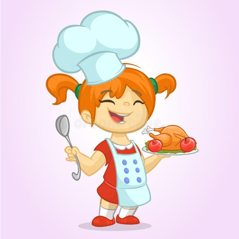 Gullig liten blond flicka för tecknad film i hatt för förkläde- och kock` s vektor illustrationer