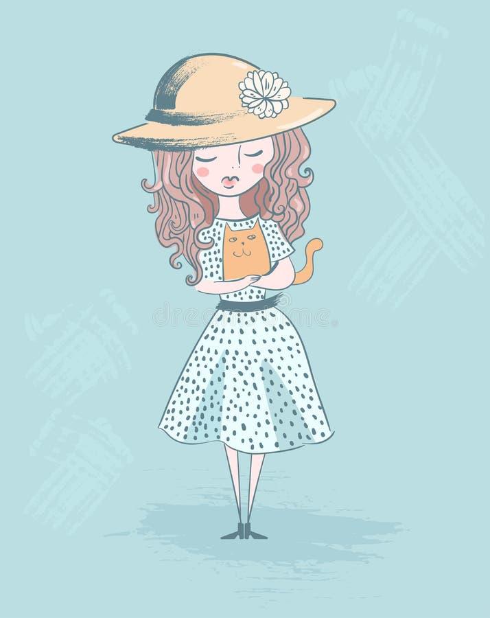 Gullig liten dam med kattvektorn royaltyfri illustrationer