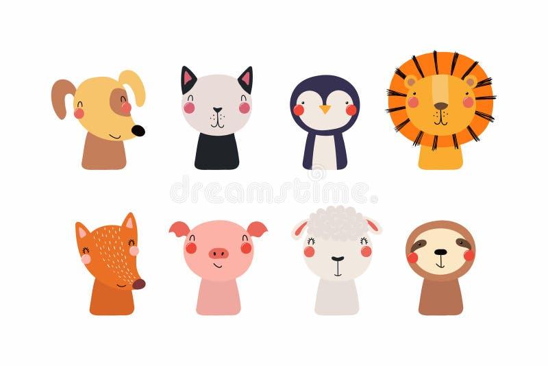 Gullig liten djuruppsättning vektor illustrationer