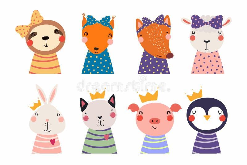 Gullig liten djuruppsättning royaltyfri illustrationer