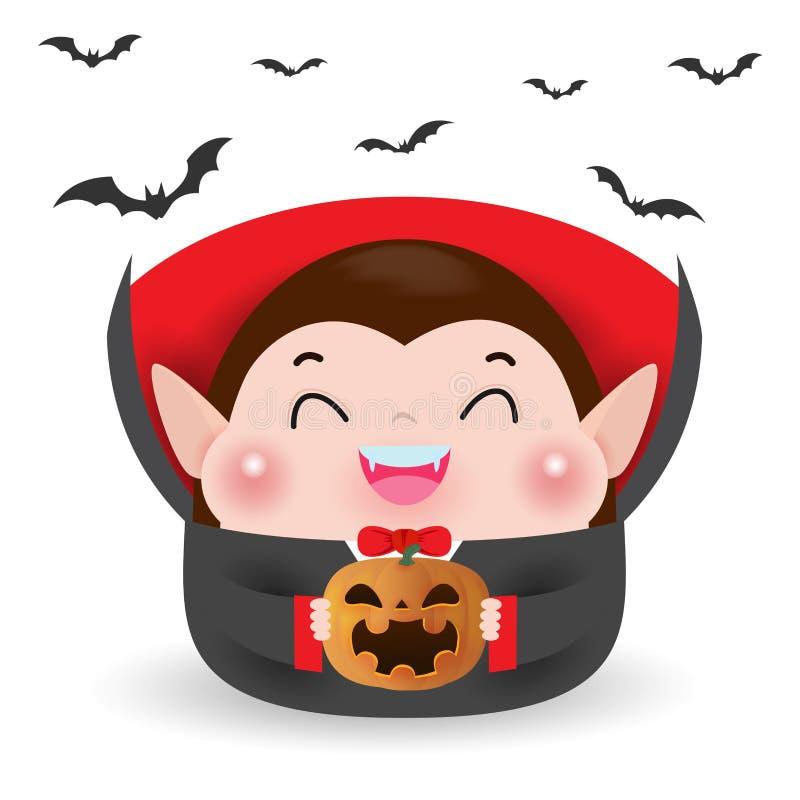 Gullig liten Dracula vampyr och flygaslagträn med pumpa som isoleras på vit bakgrund Allhelgonaaftonungar kostymerar partivektorn stock illustrationer