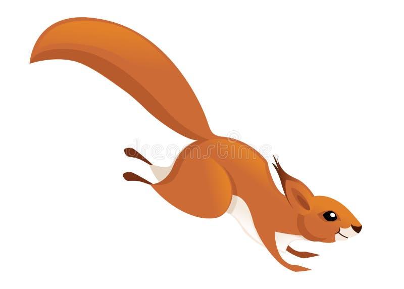 Gullig liten ekorre som ner hoppar Slapp fokus Djur teckendesign f?r tecknad film Plan illustration som isoleras p? vit stock illustrationer