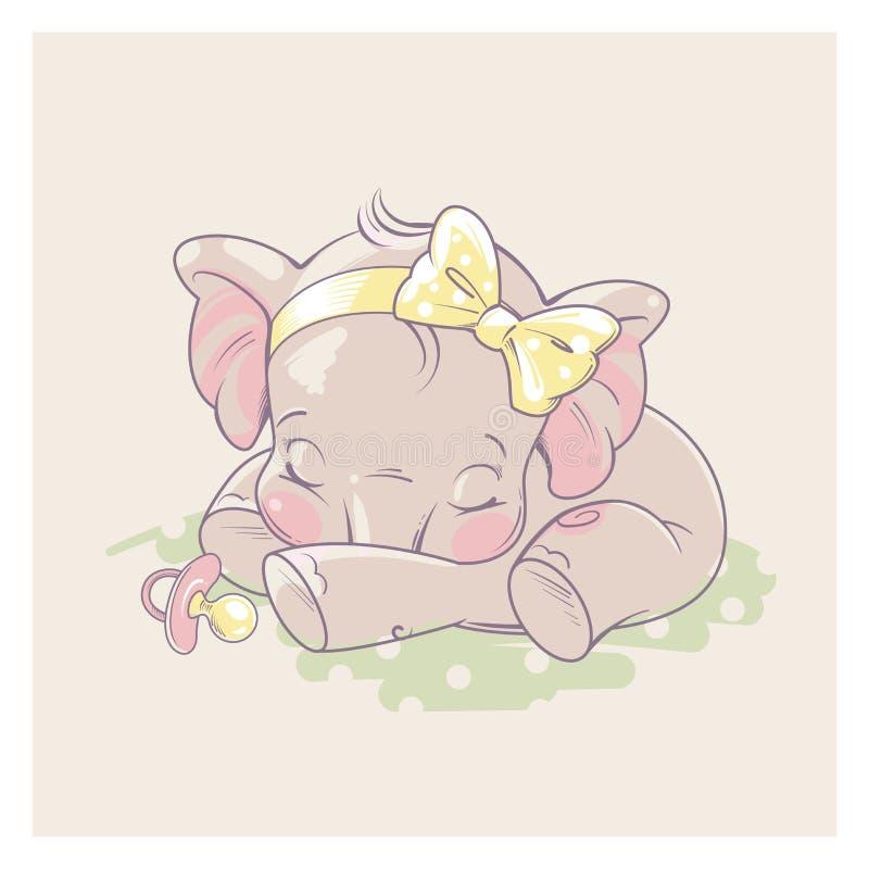 Gullig liten elefant som behandla som ett barn flicka royaltyfri illustrationer