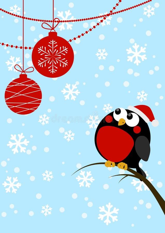 Gullig liten fågel med julbollar stock illustrationer