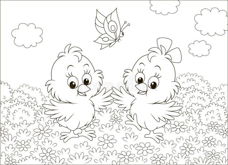 Gullig liten fågelungedans royaltyfri illustrationer