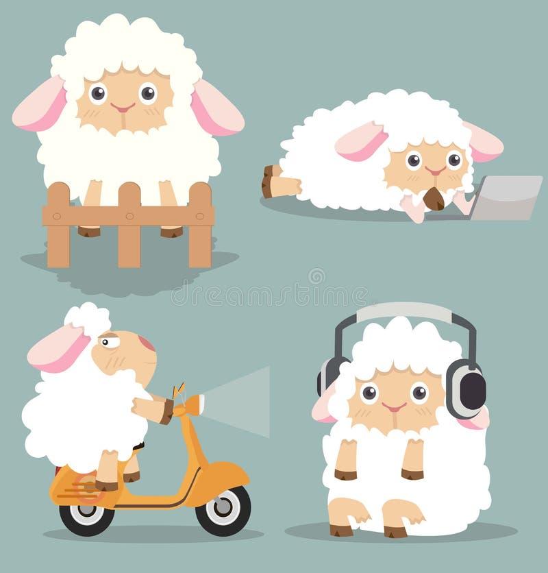 Gullig liten fåruppsättning stock illustrationer