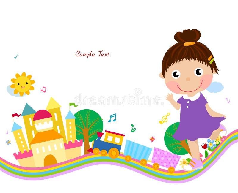 Gullig liten flicka royaltyfri illustrationer