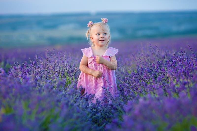 Gullig liten flicka i den luftiga rosa klänningen som poserar anseende på ett lavendelfält och ser till moln arkivfoton