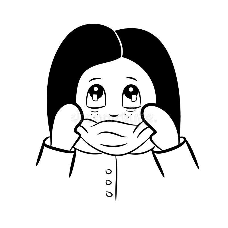 Gullig liten flicka i halsduk och handskar royaltyfri illustrationer