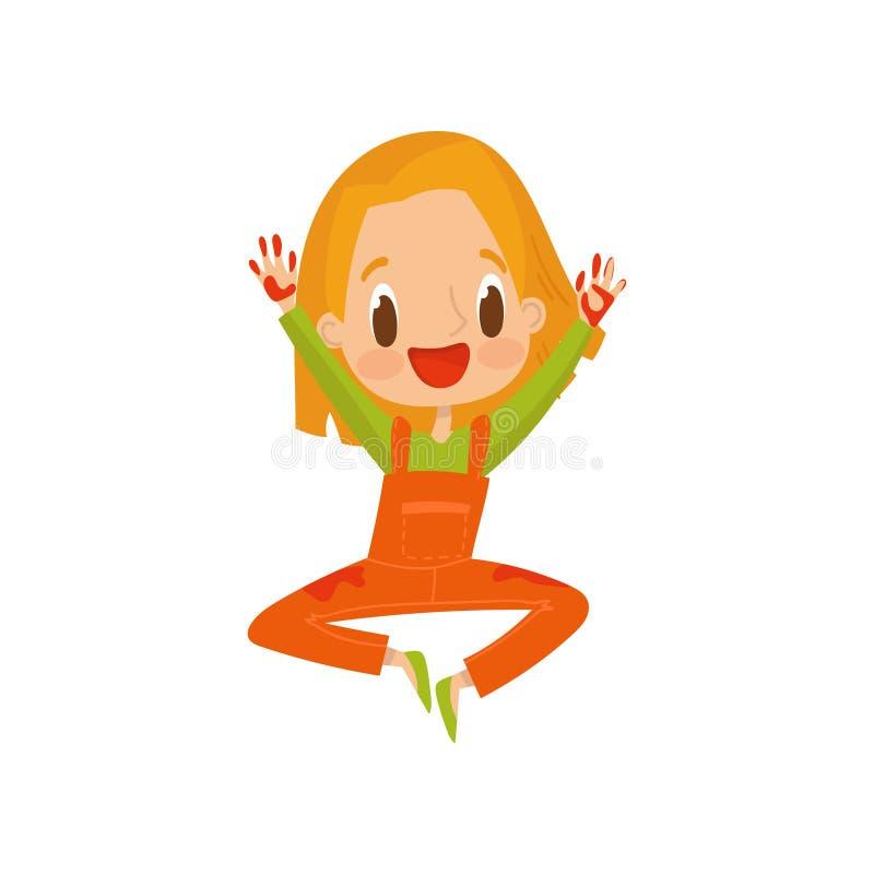 Gullig liten flicka med smutsiga händer, barnmålning med den färgrika handprints-, utbildnings- och ungeutvecklingsbegreppsvektor royaltyfri illustrationer