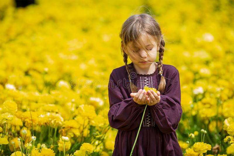 Gullig liten flicka med vildblommor på naturen arkivfoton