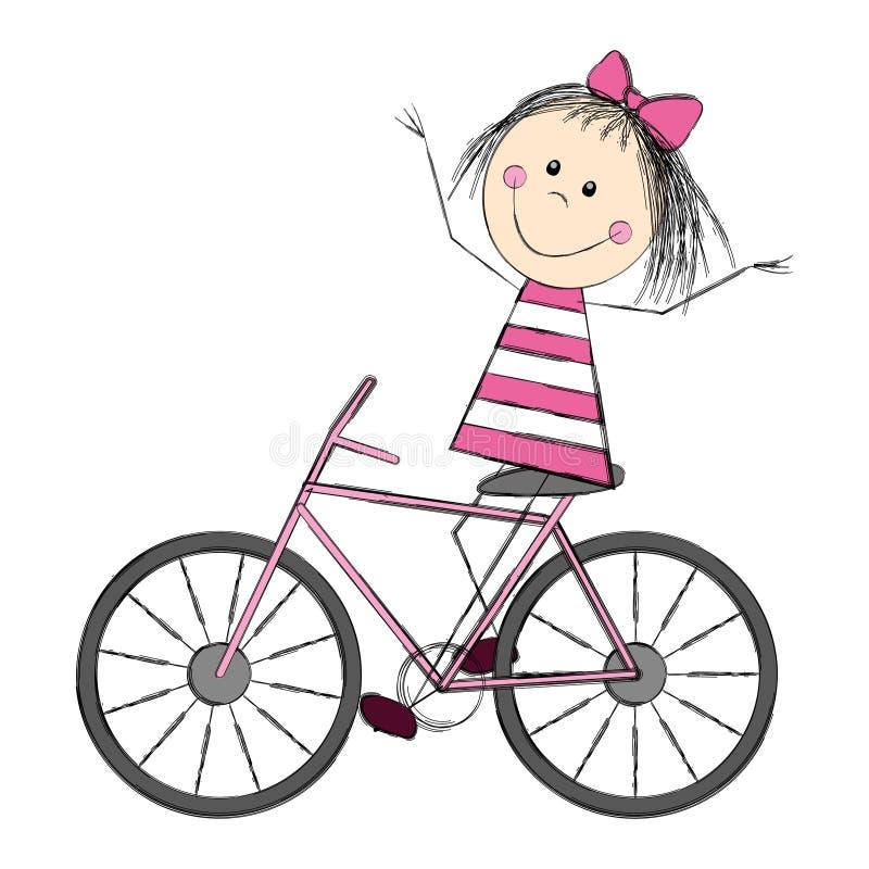 Gullig liten flicka på cykeln royaltyfri illustrationer