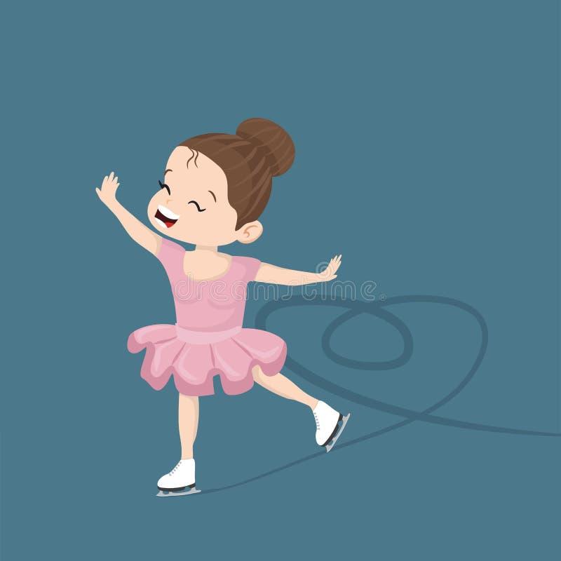 Gullig liten flicka som åker skridskor i isen vektor illustrationer