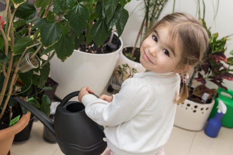 Gullig liten flicka som bevattnar växter i hennes hus arkivbild