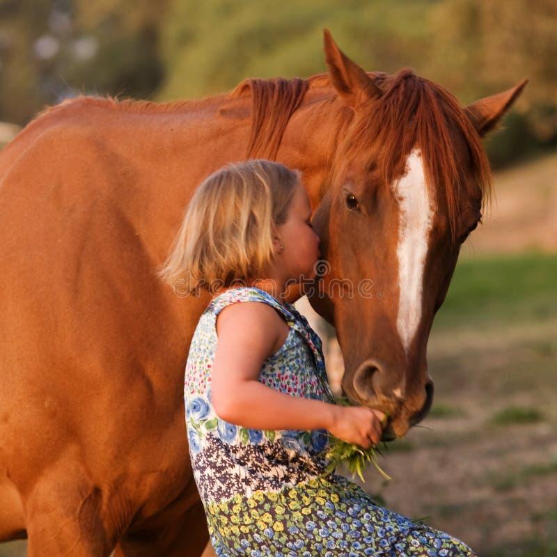 Gullig liten flicka som kysser hennes häst royaltyfri bild