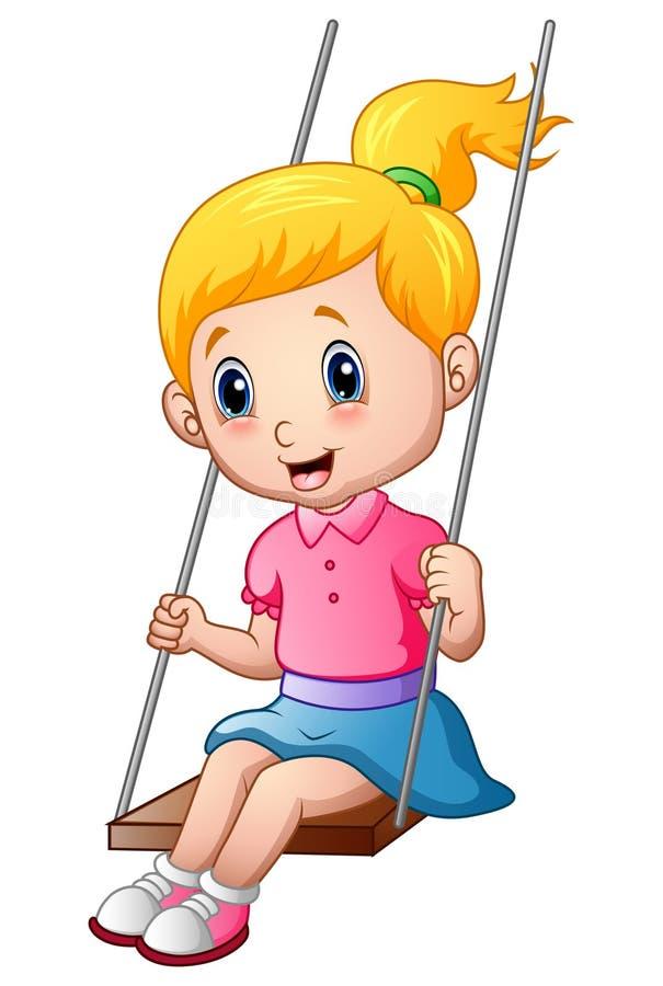Gullig liten flicka som spelar en gunga vektor illustrationer
