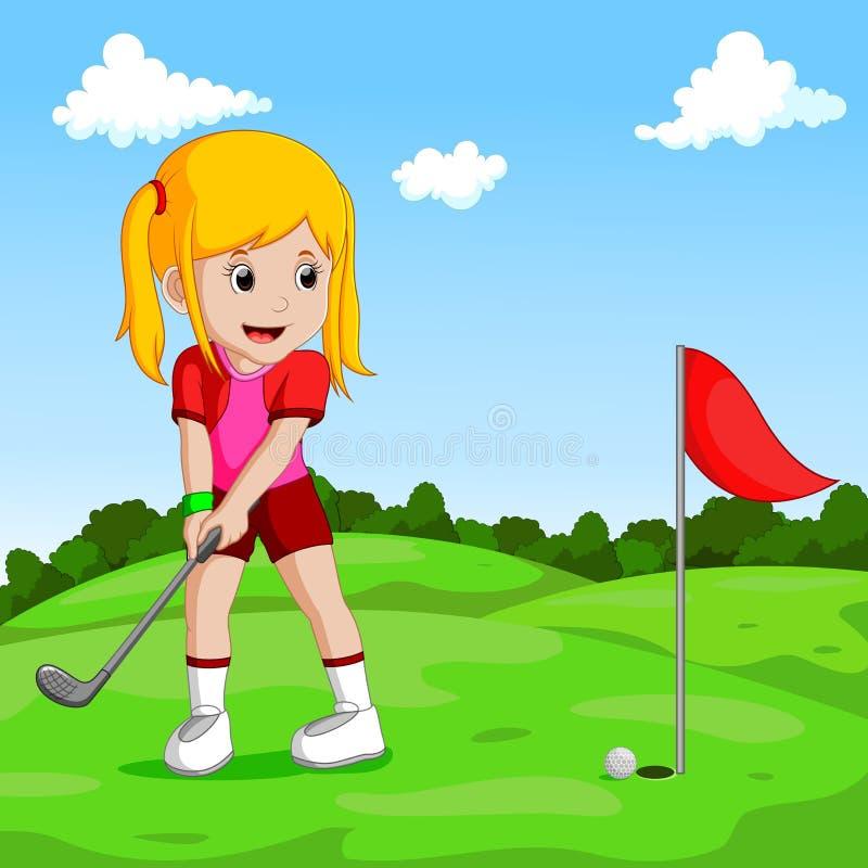 Gullig liten flicka som spelar golf vektor illustrationer