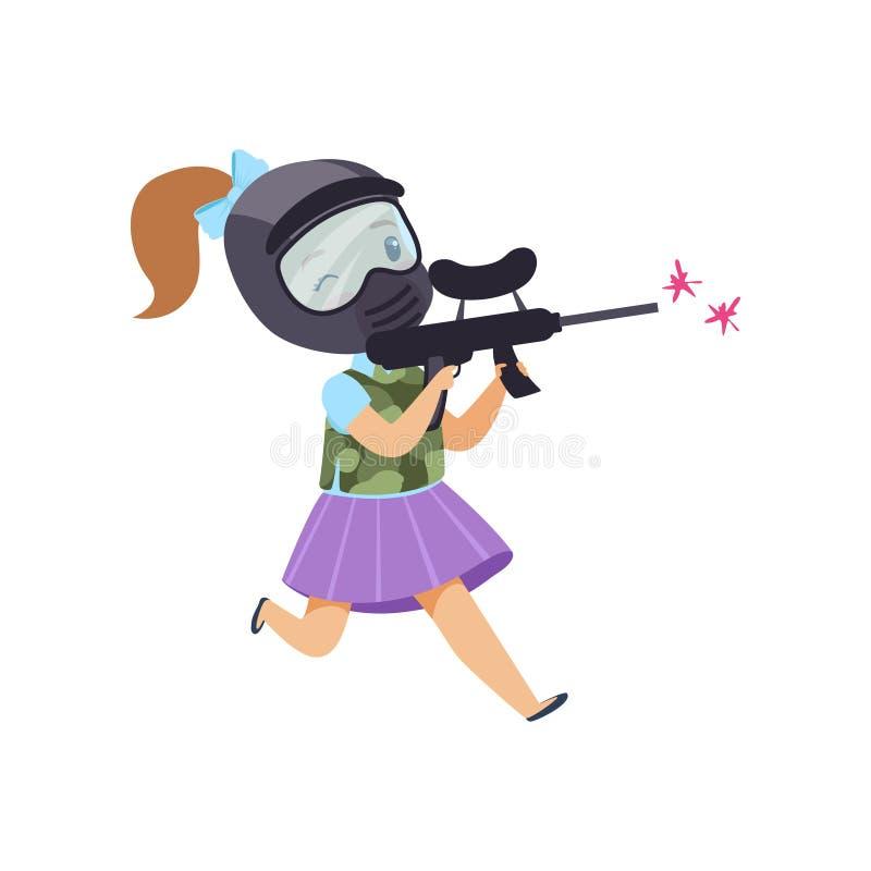 Gullig liten flicka som spelar paintball med den bärande hjälmen för vapen och västvektorillustrationen på en vit bakgrund stock illustrationer