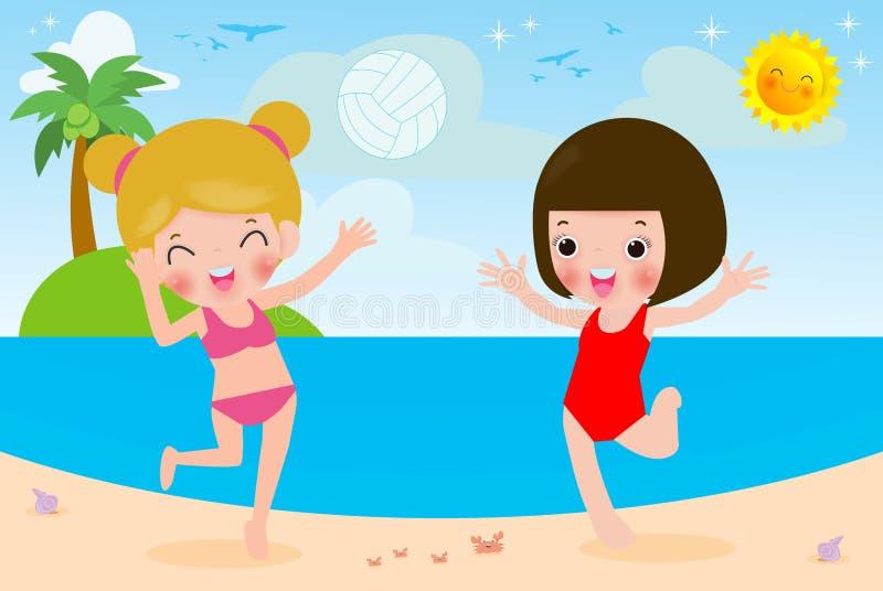 Gullig liten flicka som spelar volleyboll på stranden, ungar som gör sportar och kopplar av på stranden, vektor för barnsommardet royaltyfri illustrationer