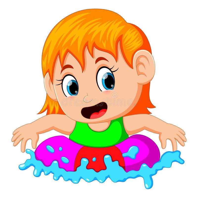 Gullig liten flicka som svävar i en cirkel i en simbassäng vektor illustrationer