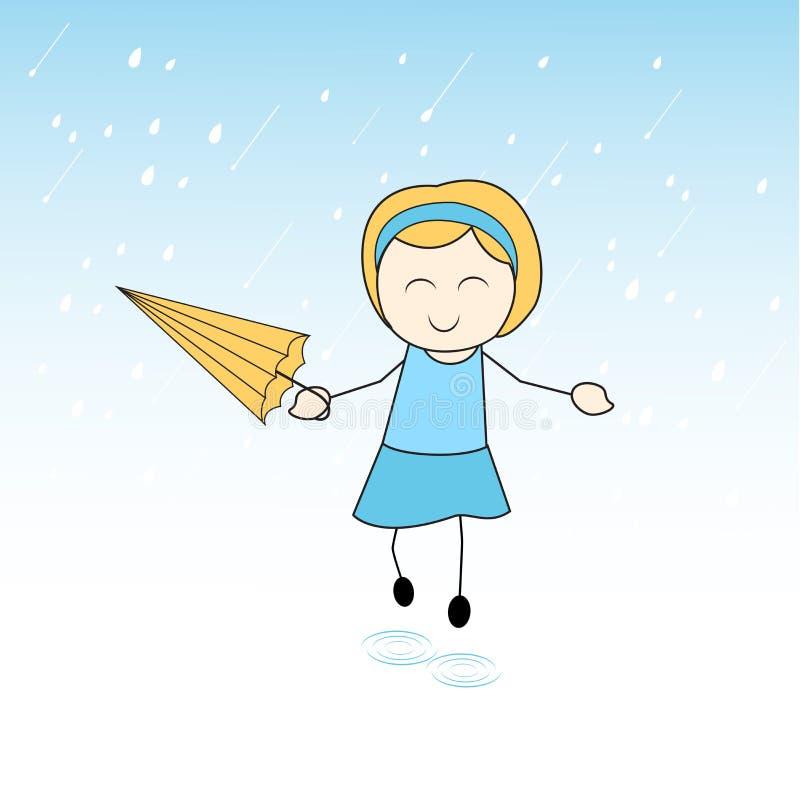 Gullig liten flicka som tycker om regn royaltyfri illustrationer