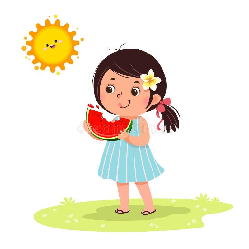 Gullig liten flickakänsla som är lycklig med vattenmelon i varm solig dag royaltyfri illustrationer