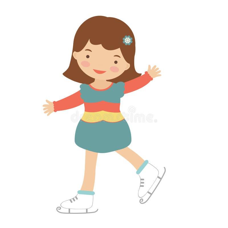 Gullig liten flickaskridskoåkning stock illustrationer