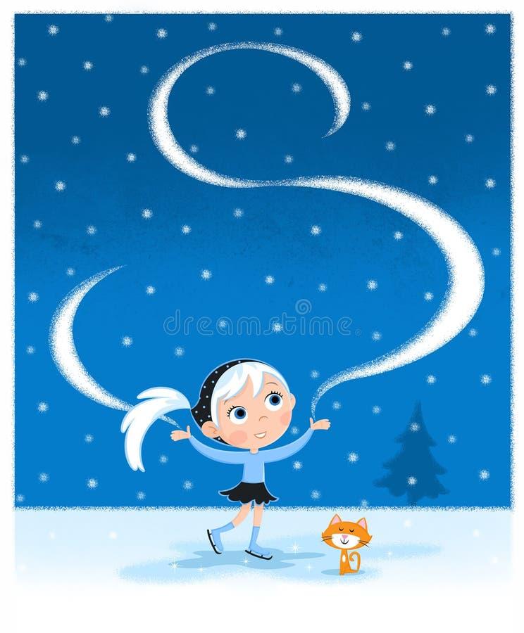 Gullig liten flickaskridskoåkning på den snöig vinternatten - vektor illustrationer