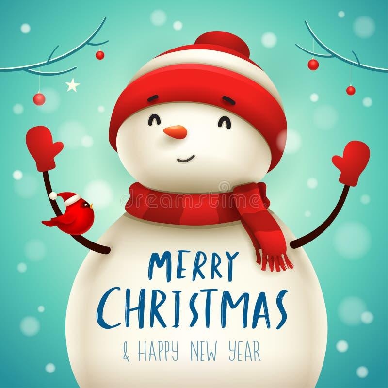 Gullig liten gladlynt snögubbe för jul vektor illustrationer