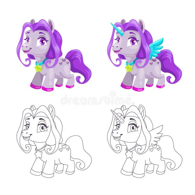 Gullig liten häst och färgrika och översiktsversioner för enhörning för symboler, royaltyfri illustrationer