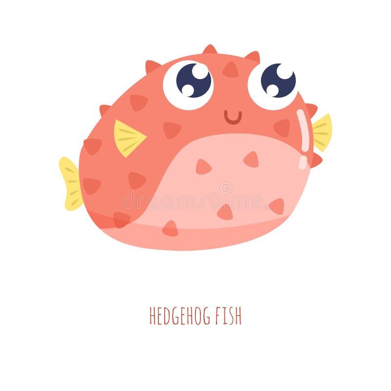 Gullig liten illustration för fiskigelkottvektor royaltyfri illustrationer