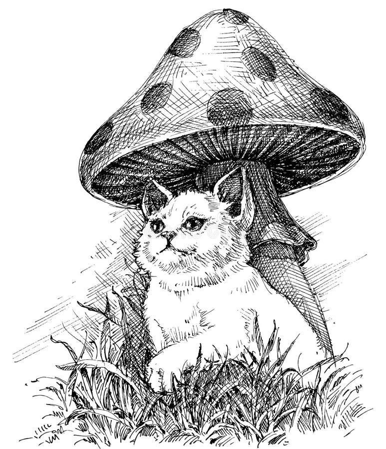 Gullig liten kattteckning vektor illustrationer