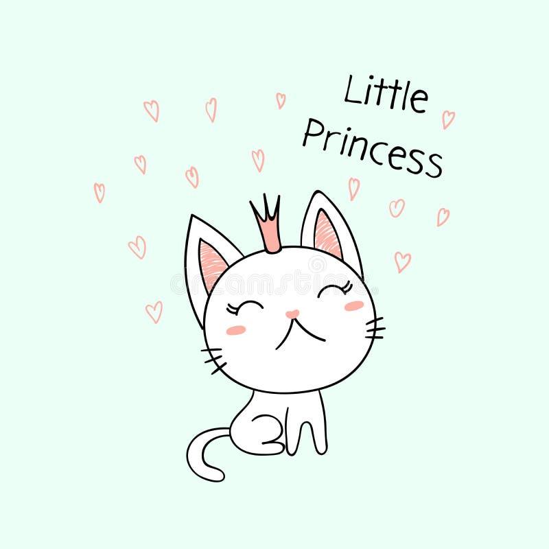 Gullig liten kattungeprinsessa vektor illustrationer