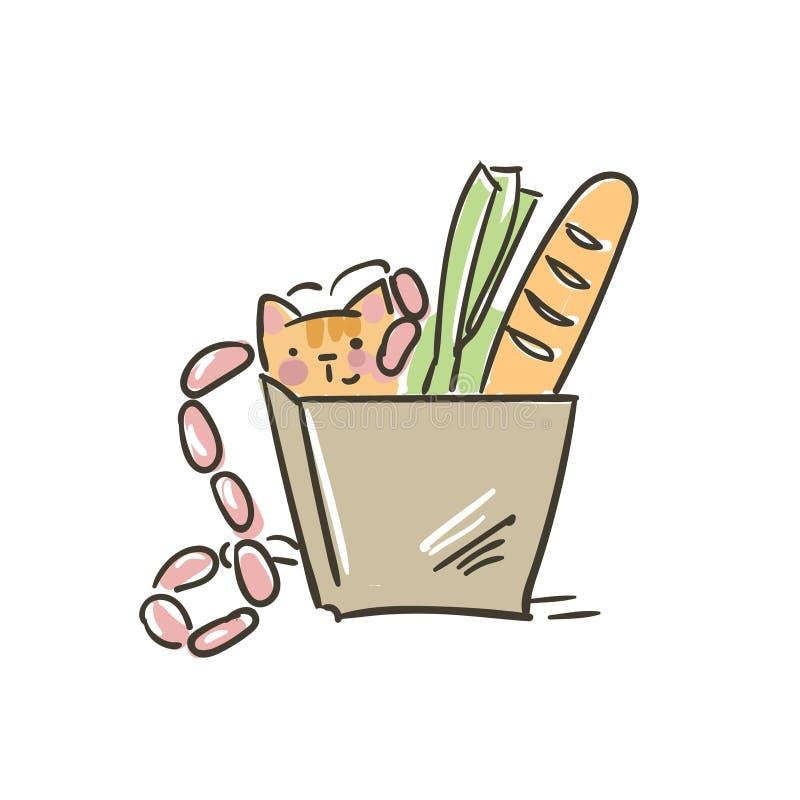 Gullig liten kattvektor för klotter i mat för pappers- påse stock illustrationer