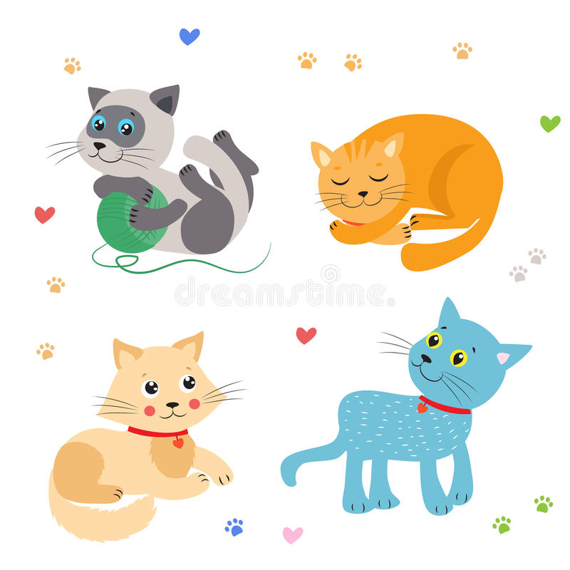 Gullig liten kattvektorillustration Cat Mascot Vector Jama för katter stock illustrationer
